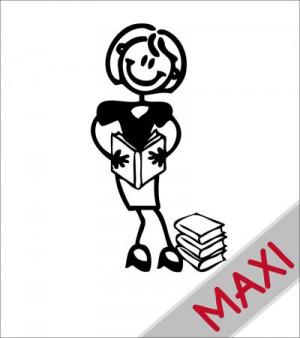 Mamma con libri - Maxi Adesivi Famiglia per camper