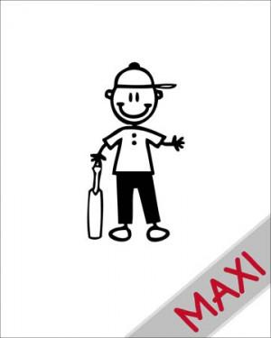 Bambino giocatore di cricket - Maxi Adesivi Famiglia per Camper