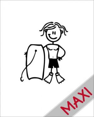 Bambino con tavola da bodyboard - Maxi Adesivi Famiglia per Camper