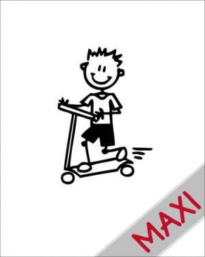 Bambino con monopattino - Maxi Adesivi Famiglia per Camper