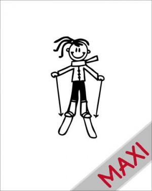 Bambina sugli sci - Maxi Adesivi Famiglia per Camper