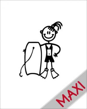 Bambina con tavola da bodyboard - Maxi Adesivi Famiglia per Camper