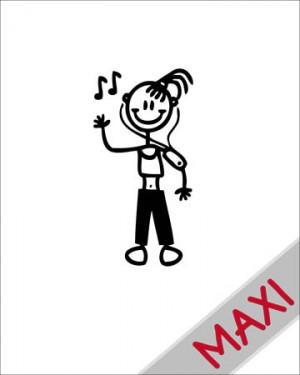 Bambina con lettore mp3 - Maxi Adesivi Famiglia per Camper