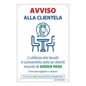 """Adesivo """"Utilizzo dei tavoli con Green Pass"""""""