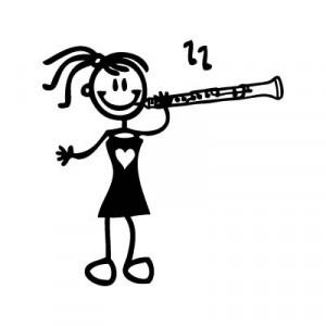 Bambina col clarinetto - Adesivi Famiglia