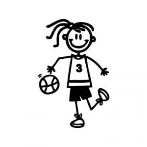 Bambina basket - Adesivi Famiglia
