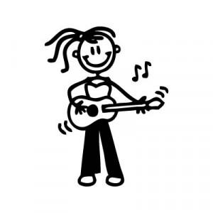 Bambina con chitarra - Adesivi Famiglia