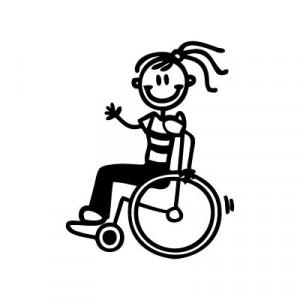 Bambina con la carrozzina - Adesivi Famiglia