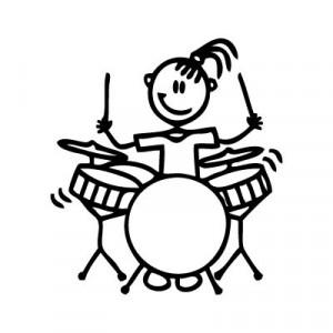 Bambina batterista - Adesivi Famiglia