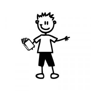 Bambino col libro - Adesivi Famiglia