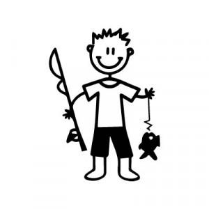 Bambino pescatore - Adesivi Famiglia