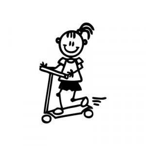 Bambina sul monopattino - Adesivi Famiglia