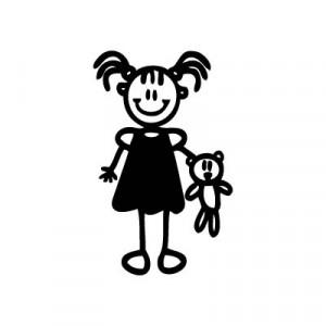 Bambina con orsacchiotto - Adesivi Famiglia