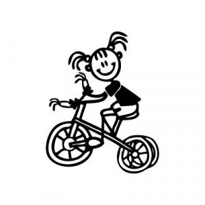 Bambina con triciclo - Adesivi Famiglia
