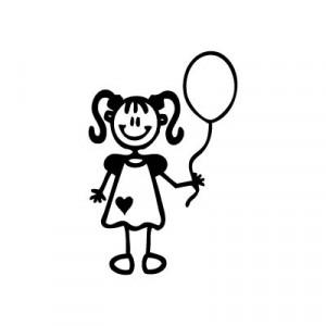 Bambina con palloncino - Adesivi Famiglia