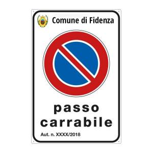 """Cartello """"Passo Carrabile"""" 40x60 cm personalizzabile con stemma"""