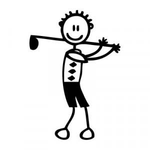 Papà con mazza da golf - Adesivi Famiglia