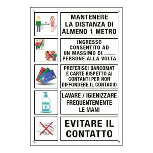 Cartello con prescrizioni al pubblico per prevenire il contagio