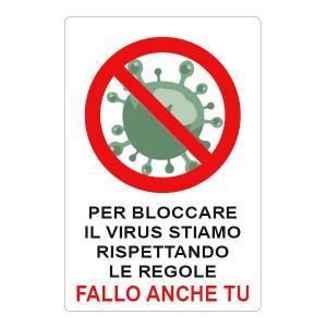 """Adesivo """"Per bloccare il virus stiamo rispettando le regole, fallo anche tu"""""""