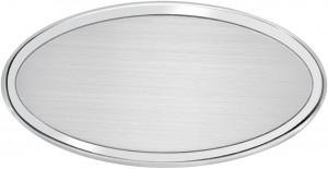 AO - Targa da porta ovale alluminio satinato bordo lucido