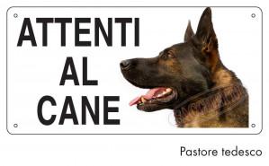 """Cartello """"Attenti al cane"""" - Pastore Tedesco"""