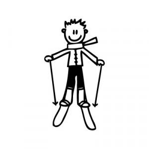 Bambino sugli sci