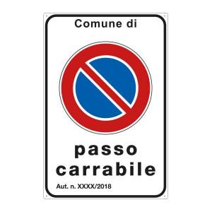 """Cartello """"Passo Carrabile"""" 40x60 cm personalizzabile"""