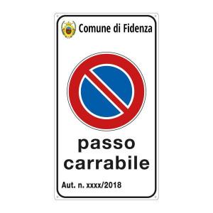 """Cartello """"Passo Carrabile"""" 25x45 cm personalizzabile con stemma"""