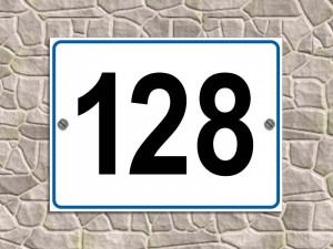 Numero civico in alluminio piano rifrangente (bordo blu)