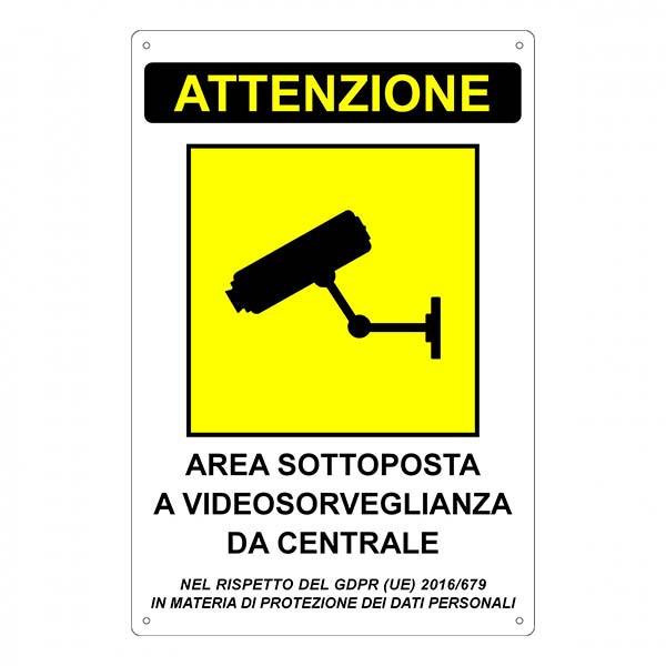 """Segnale """"Area sottoposta a videosorveglianza da centrale"""""""
