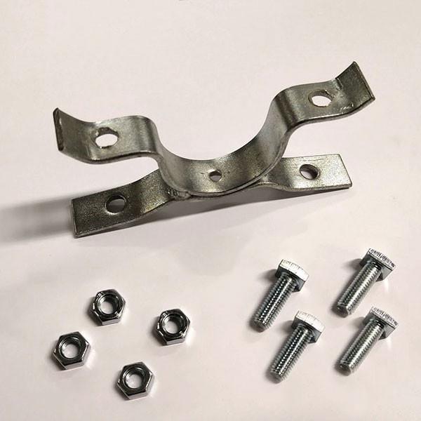 Collare metallico doppio per fissaggio bifacciale di cartelli scatolati