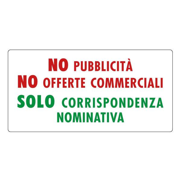 """Adesivo """"No Pubblicità - Solo corrispondenza nominativa"""""""