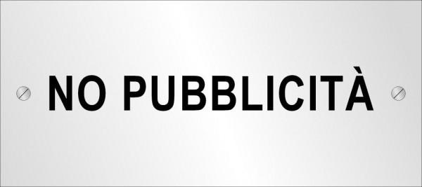 Targhetta metallica No Pubblicità (180x80 mm)