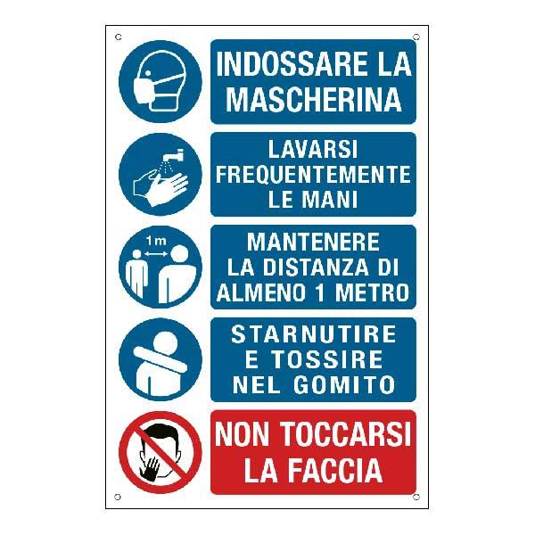 Cartello con prescrizioni per i lavoratori per prevenire il contagio