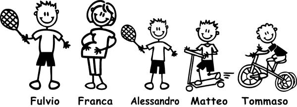 Kit di Adesivi Famiglia con papà, mamma e tre bambini che giocano