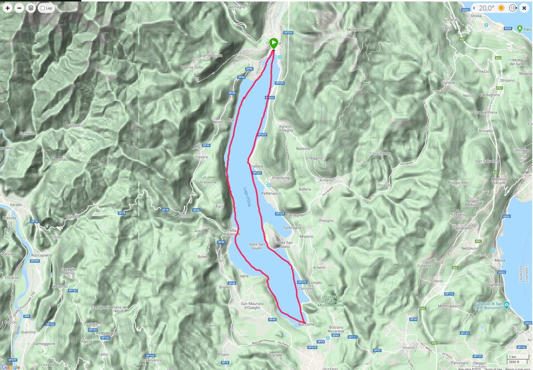 Traccia GPS del giro a nuoto del lago d'Orta