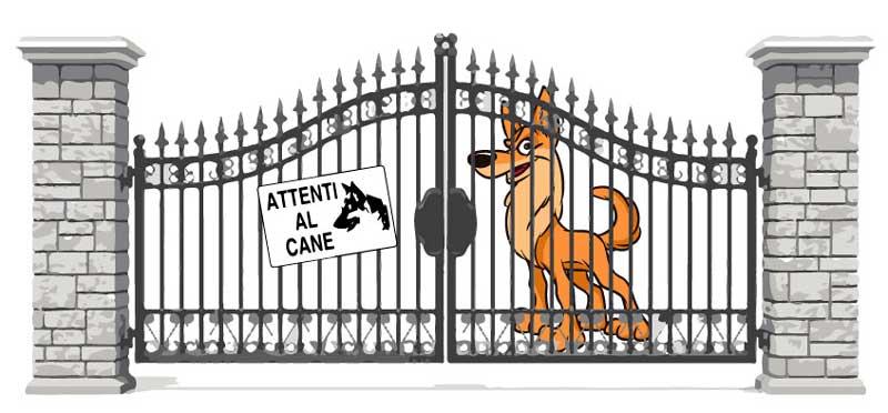 """Cancello con cane da guardia e cartello """"Attenti al Cane"""""""