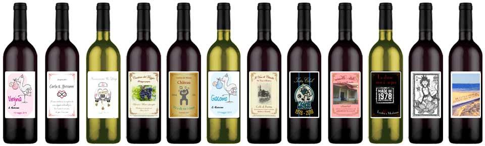 Etichette per bottiglie di vino personalizzate